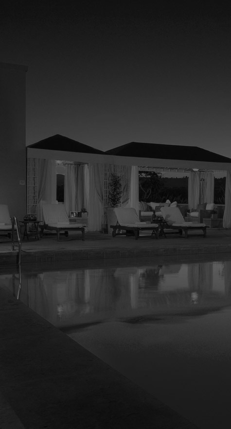 Hotel poolside cabanas (grayscale)